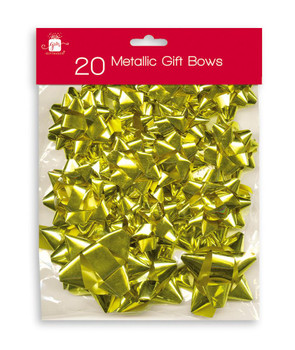 Pack of 20 Christmas Assorted Metallic Gold Gift Bows