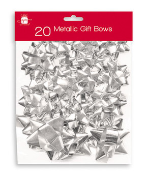 Pack of 20 Christmas Assorted Metallic Silver Gift Bows