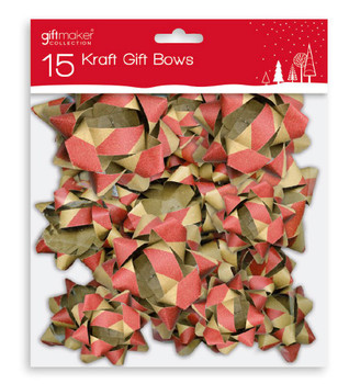 Pack of 15 Christmas Assorted Kraft Gift Bows