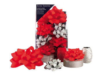 Pack of 12 Luxury Red and Silver Christmas Decoration Accessory Set