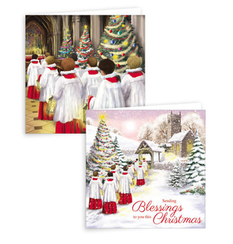 Pack of 10 Choir Scene Design Square Christmas Greeting Cards