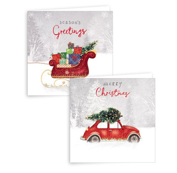 Pack of 10 Car and Sleigh Design Square Christmas Greeting Card