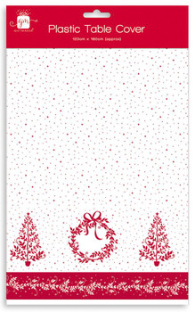 Tree and Wreath Design Christmas Party Plastic Table Cover