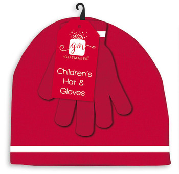 Children's Knitted Christmas Hat and Gloves Set