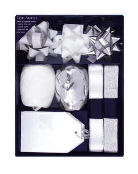 Pack of Silver and White Christmas Gift Wrapping Accessory Set