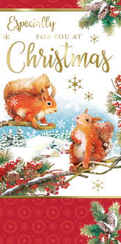 Box of 20 Squirrel and Bunny Design Luxury Slim Christmas Greetings Cards With Envelopes