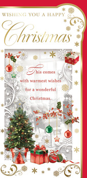 Box of 20 Christmas Tree Design Luxury Slim Greetings Cards With Envelopes