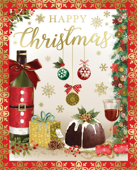 Box of 24 Wine Bottle and Candle Design Luxury Portrait Christmas Cards With Envelopes