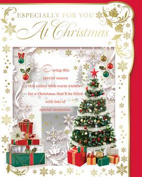Box of 24 Christmas Tree and Wine Bottle Design Luxury Portrait Christmas Cards With Envelopes