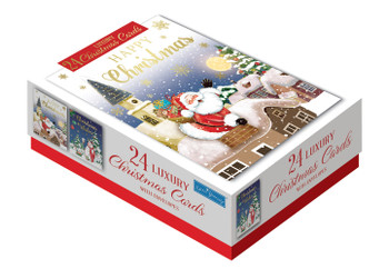Box of 24 Santa and Snowman Design Luxury Portrait Christmas Cards With Envelopes