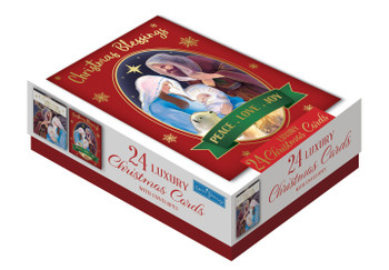 Box of 24 Religious Design Luxury Portrait Christmas Cards With Envelopes