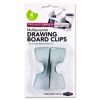 Pack of 4 Drawing Board Clips by Premier Office