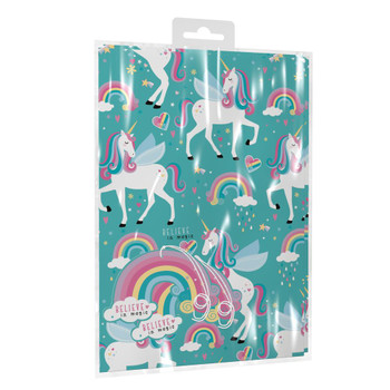 Pack of 2 Sheets of Girl Unicorn Design Birthday Gift Wrapping Paper with Tags