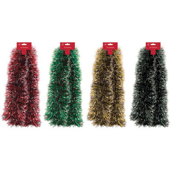 2m Christmas Snow Tipped Tinsel
