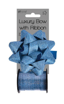 Baby Blue Glitter Bow And Ribbon Spool Baby Shower Decoration