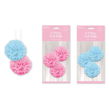 Pack of 3 20cm Baby Shower Party Puff Balls