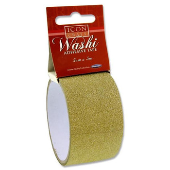 5m x 5cm Gold Glitter Washi Tape by Icon Craft