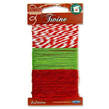 Pack of 3 2m Christmas Twine by Icon Craft