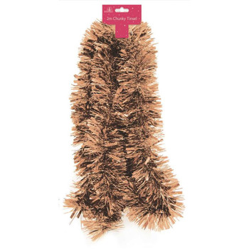 2m Chunky Copper Christmas Tinsel