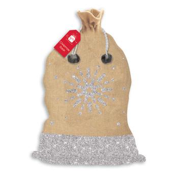 Poly Hessian With Glitter Christmas Sack