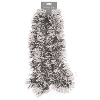 2m Chunky Silver Christmas Tinsel