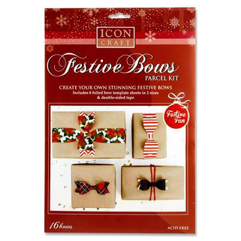 Pack of 16 Create Your Own Stunning Christimas Bows by Icon Craft