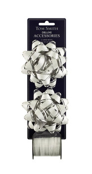 Deluxe Silver Double Bow Christmas Decoration