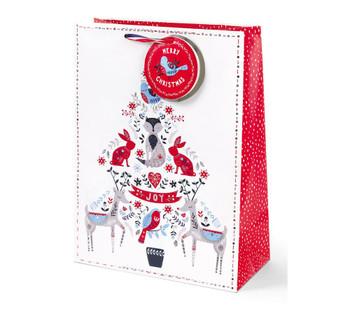 Christmas Festive Folk Design Large Gift Bag