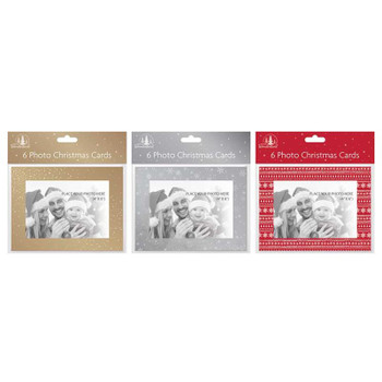 Pack of 6 Photo Frame Design Christmas Cards