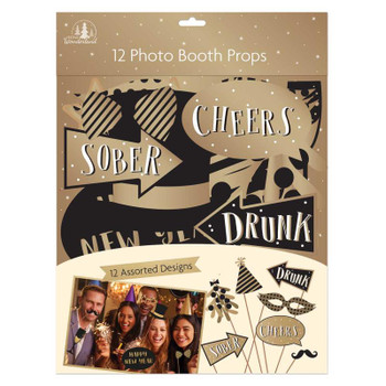 Pack of 12 Large Foil New Year Photo Booth Props