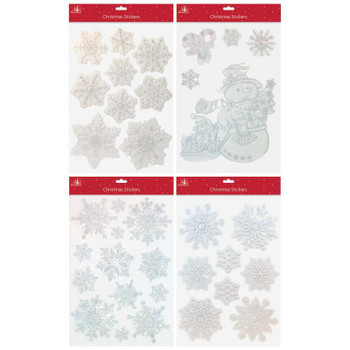 Snowflakes And Snowman Design 3D Laser Silver Christmas Window Stickers
