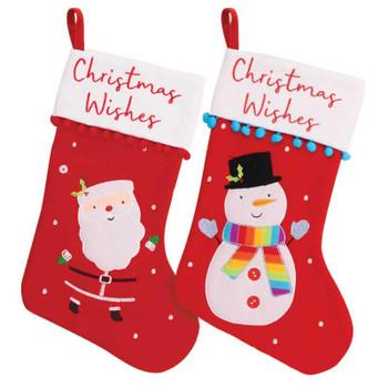 Christmas Santa And Snowman Design Pom Pom Felt Kids Stocking
