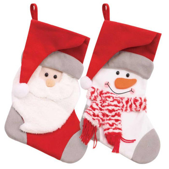 Christmas Santa And Snowman Head Design Red And Grey Kids Stocking