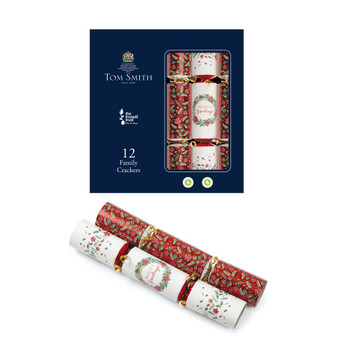 """Pack of 12 Traditional Design 12"""" Family Christmas Crackers"""