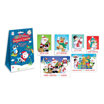 Pack of 32 Cute Characters Christmas School Cards