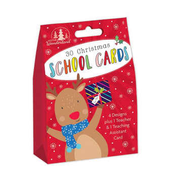 Pack of 30 Cute Characters Design Kids School Christmas Cards