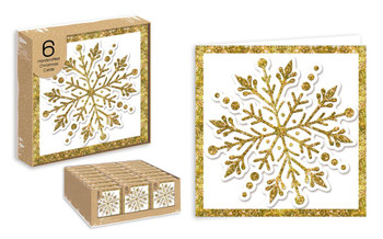 Pack of 6 Snowflake Design Handcrafted Christmas Cards