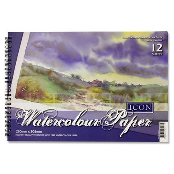 A4 300gsm 12 Sheets Wiro Watercolour Pad by Icon Art
