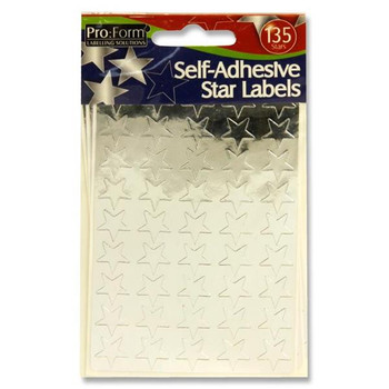 Pack of 135 Self Adhesive Silver Stars Labels by Pro:Form