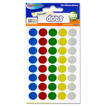 Pack of 200 Dots Self Adhesive Stickers by Crafty Bitz