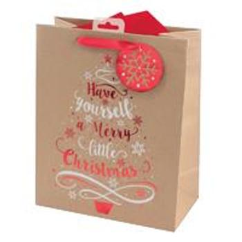 Kraft Tree and Text Design Christmas Large Gift Bag