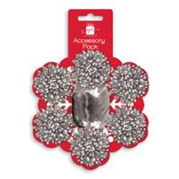 Pack of 7 Pieces Christmas Silver Bows and Cop Set