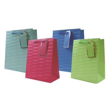 Pack of 12 Embossed Bright Coloured Medium Gift Bags