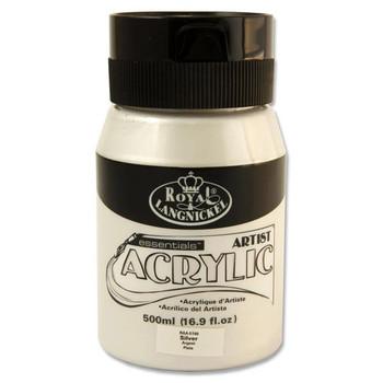 Silver 500ml Essentials Acrylic Pot by Royal & Langnickel
