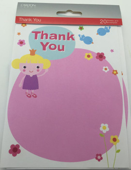 Pack of 20 Girls Pink Thank You Sheets and Envelopes by Carlton Cards {DC}