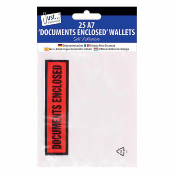Pack of 25 A7 'Documents Enclosed' Self Adhesive Clear Plastic Wallets