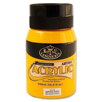 Cadmium Yellow 500ml Essentials Acrylic Pot by Royal & Langnickel