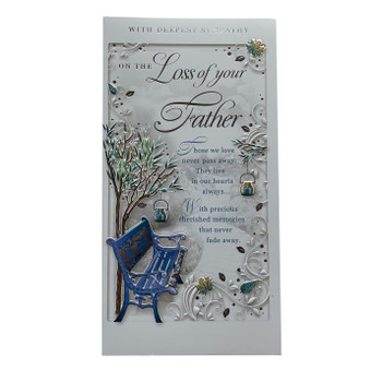 On The Loss of Your Father Autumn Design Sympathy Opacity Card