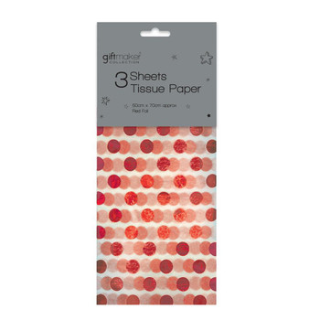 Pack of 3 Sheets Foiled Red Spot Design Tissue Paper
