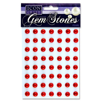 Pack of 56 Pearl Red Self Adhesive 10mm Gem Stones by Icon Craft
